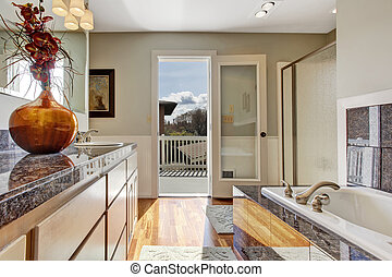 Modern bathroom interior with walkout deck