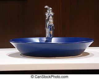 Modern bathroom sink - Blue sink in a modern bathroom