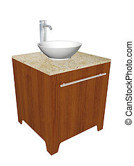 Modern bathroom sink set with ceramic wash bowl, chrome fixtures, and wooden cabinet with granite counter, 3d illustration