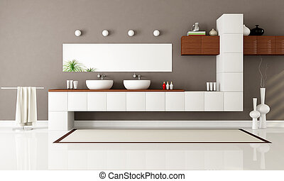 modern bathroom - white and brown contemporary bathroom with...