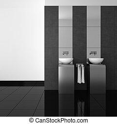 modern bathroom with black floor