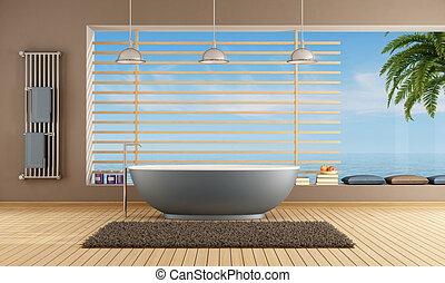 Modern Bathroom with blue bathtub