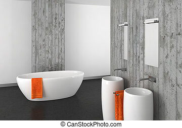 modern bathroom with concrete wall and dark floor