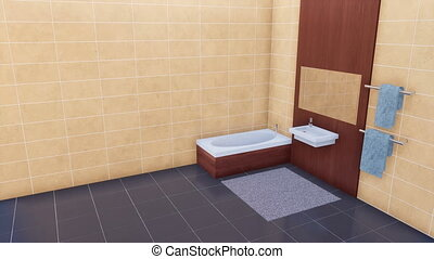 Modern bathroom with copy space bright tiled wall - Modern...