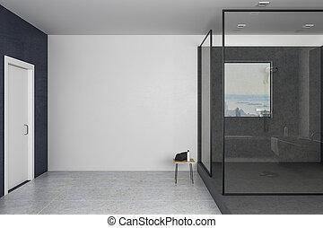 Modern bathroom with copy space