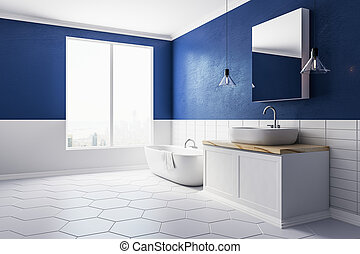 Modern bathroom with copy space side
