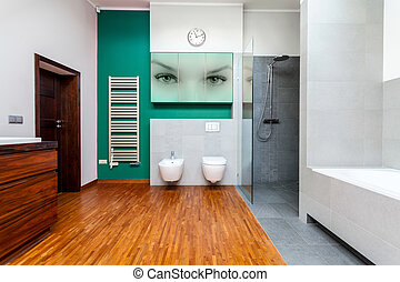 Modern bathroom with cyan elements
