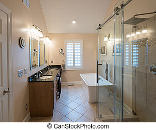 Interior of modern bathroom with standalone tub, walk in double tiled shower and granite vanity bar