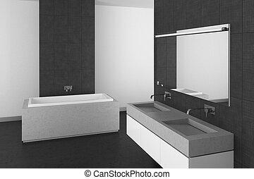 modern bathroom with gray tiles and dark floor