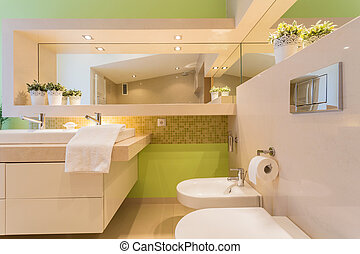 Modern bathroom with green painted wall