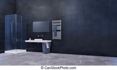 Modern bathroom with walk in shower and tiles wall - Modern...
