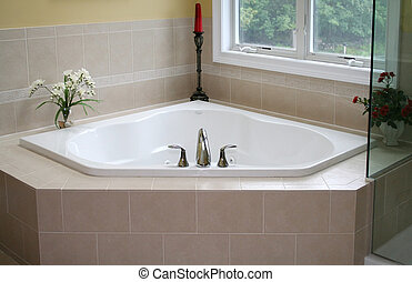 Beautiful modern whirlpool tub in new home