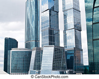 modern beautiful skyscapers reflecting sky