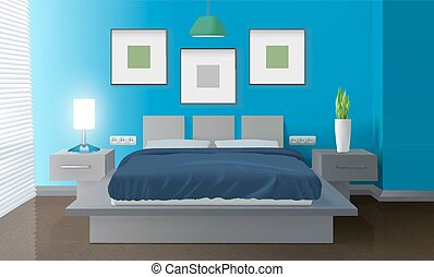 Modern bedroom vector eps vectors Search Clip Art Illustration