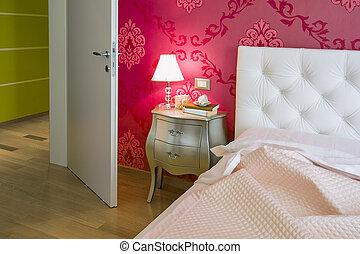 modern bedroom colorful