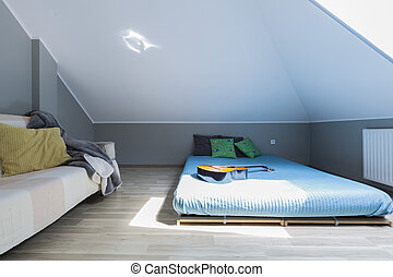 Modern bedroom for young musician