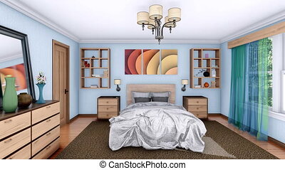 Modern bedroom interior design 3D animation