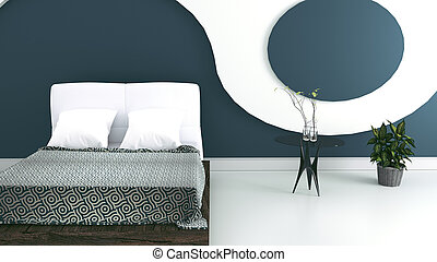 Modern bedroom interior design. 3d Rendering