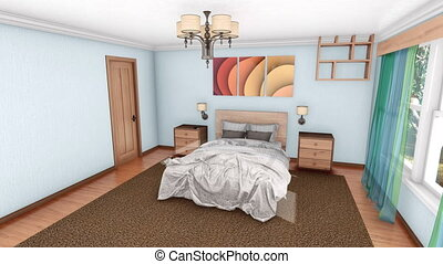 Modern bedroom interior design creation 3D