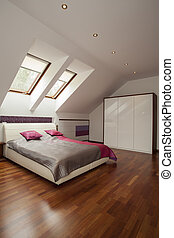 Modern bedroom - Spacious modern bedroom with pink pillows