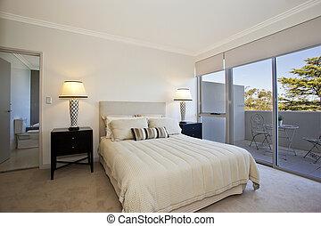 modern bedroom with window views