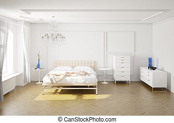 Modern bedroom with cupboards and decorations central view