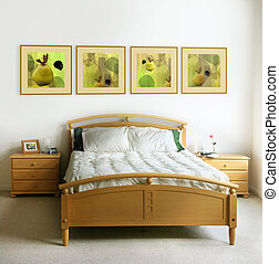 Modern bedroom - The pictures on the wall and on the...