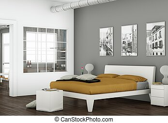 modern bedroom with 3 Photoframes on the Wall