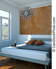 modern bedroom with brown wall and modern decor