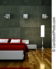 modern bedroom with concrete wall and modern decor