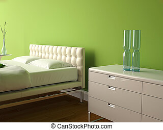 modern bedroom with green wall and modern decor
