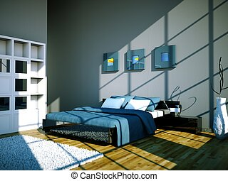 modern bedroom with grey wall and modern decor
