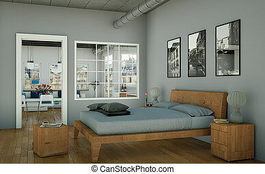 modern bedroom with king-size bed and modern decor