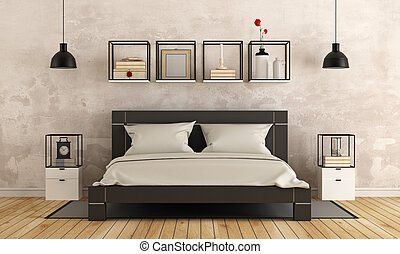 Modern bedroom with old wall