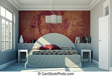 modern bedroom with red wall and modern decor