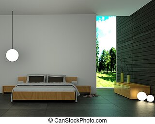 modern bedroom with wooden wall and modern decor