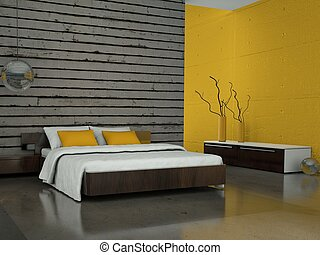 modern bedroom with yellow wall