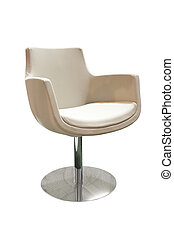 Modern beige armchair isolated on white background