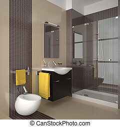 modern beige bathroom - Contemporary bathroom with beige...