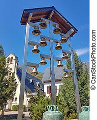 Modern bell tower of christian church