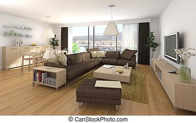 modern, belső tervezés, közül, szoba