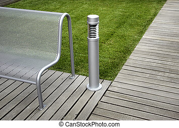 View of a modern bench in the park