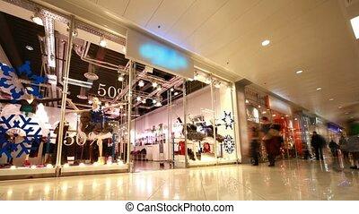 modern, bevásárlás, emberek, székhely