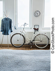 Modern bicycle and denim shirt