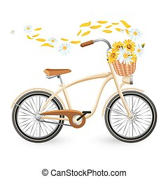 Modern bicycle with cart full of flowers and petals flying