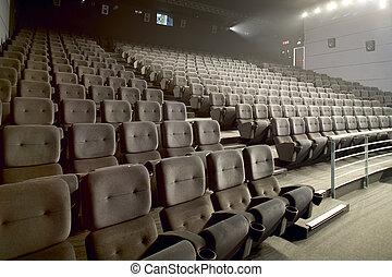 Modern big cinema auditorium interior