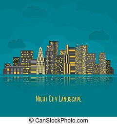 Modern big city night landscape with reflection in water. Vector