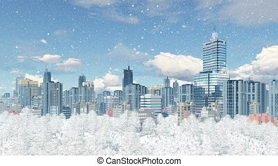 Modern big city with park zone at snowfall day 4K