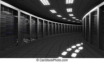 Modern big data center servers. Seamless loop, 4K clip