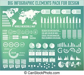 Modern big infographic elements chart set on blurred background. Colorful template for you design, web and mobile applications. Vector illustration concept